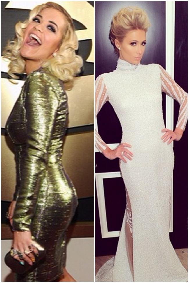 Rita Ora y Paris Hilton en la Gala de los Premios Grammy 2014