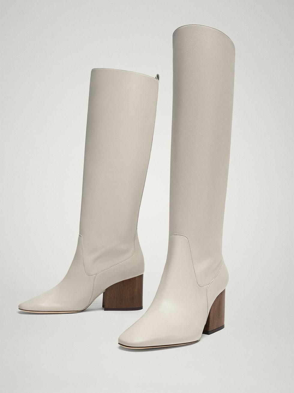 bota blanca colección Massimo Dutti