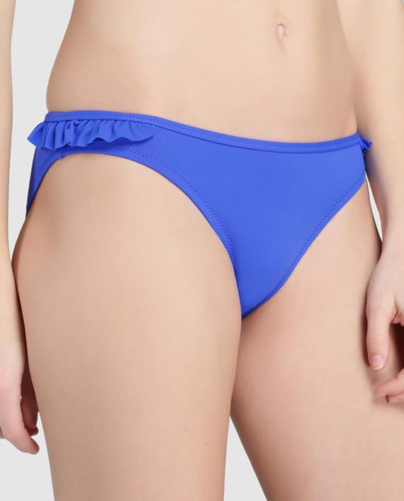braga azul con vuelo de bikini