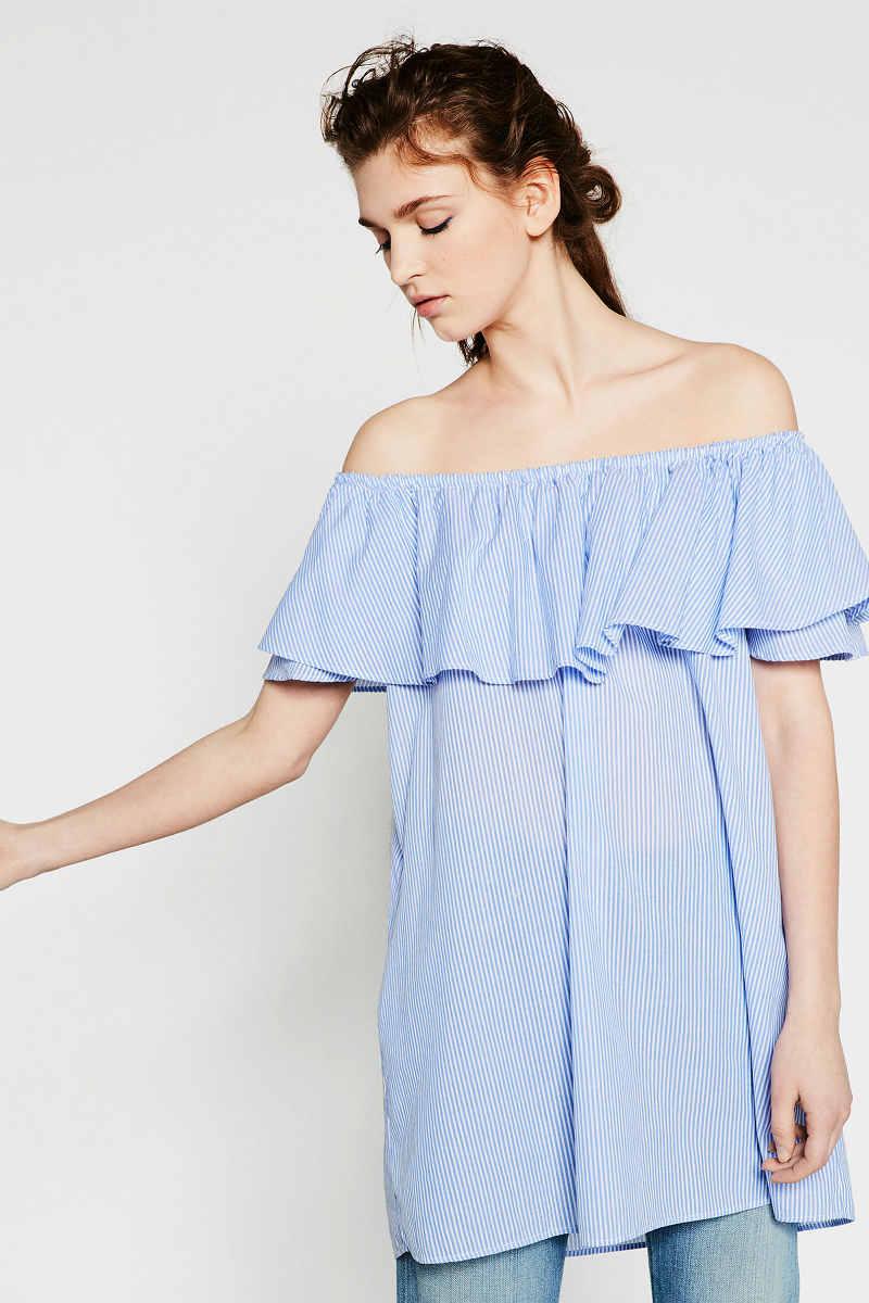 vestidos Zara tendenicas azul y blanco