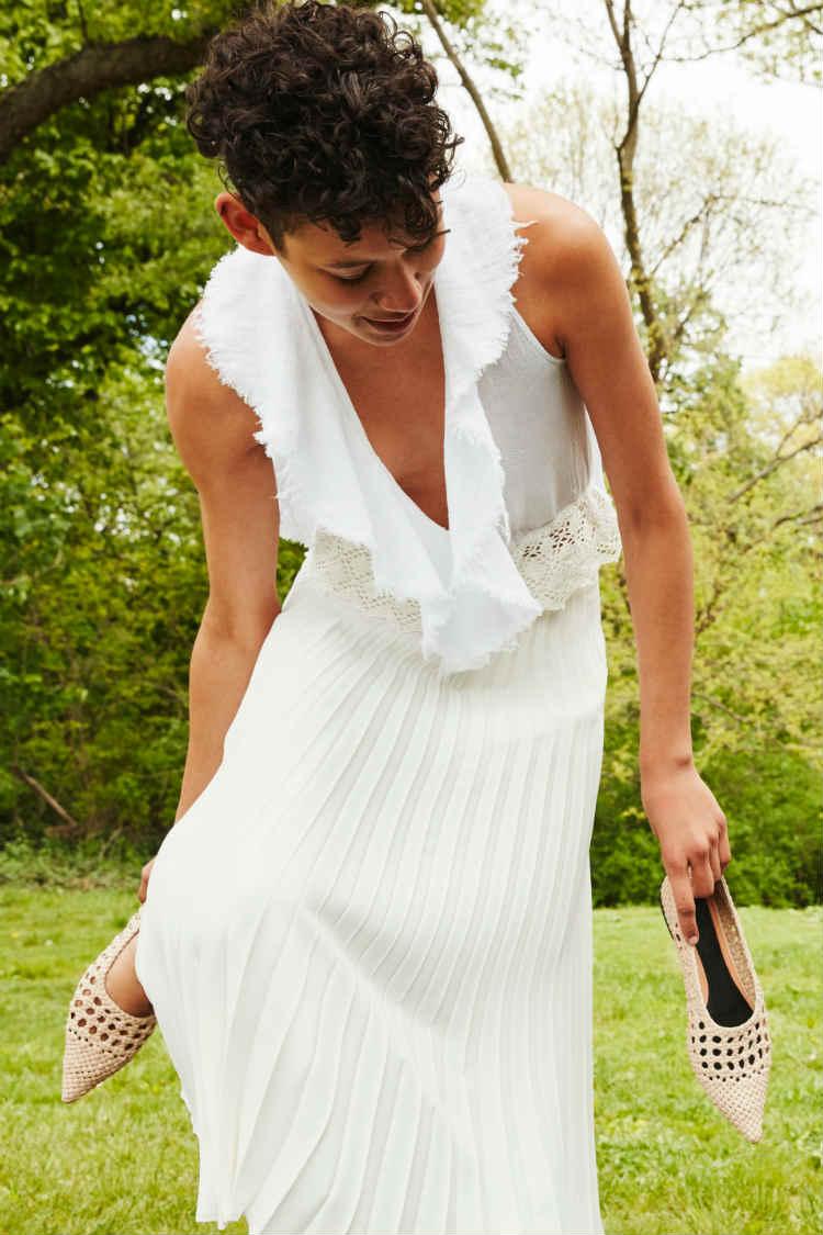 vestido zara white desmangado desflecado