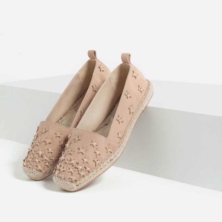 zapatos zara yute piel rosa con estrellas