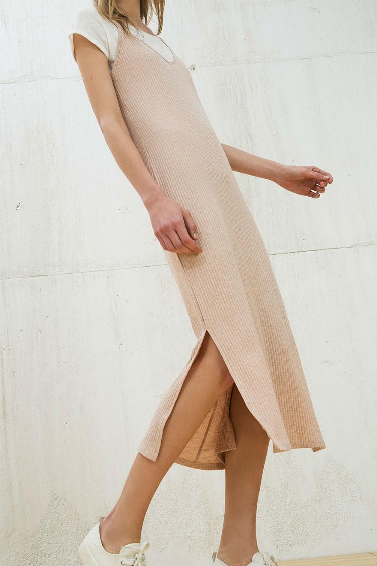 vestido nude canale bershka