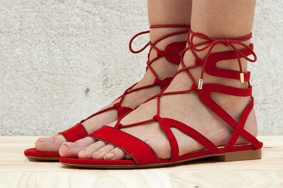 sandalias roja lace up bershka