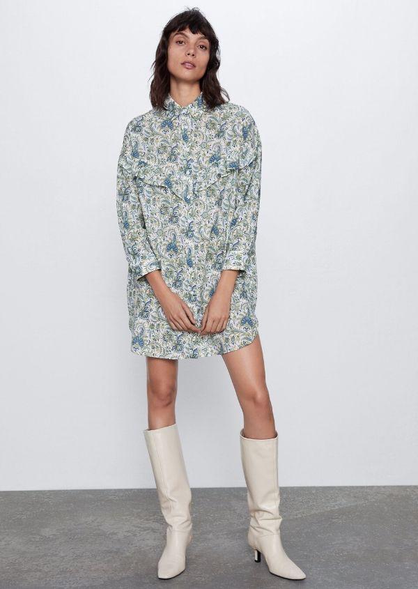 Vestido camisero Zara BLANCO / VERDE - 2282/546