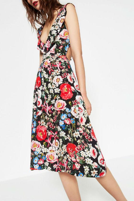 vestido midi flores zara