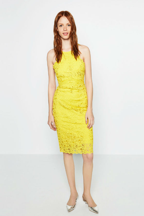 vestido amarillo midi zara