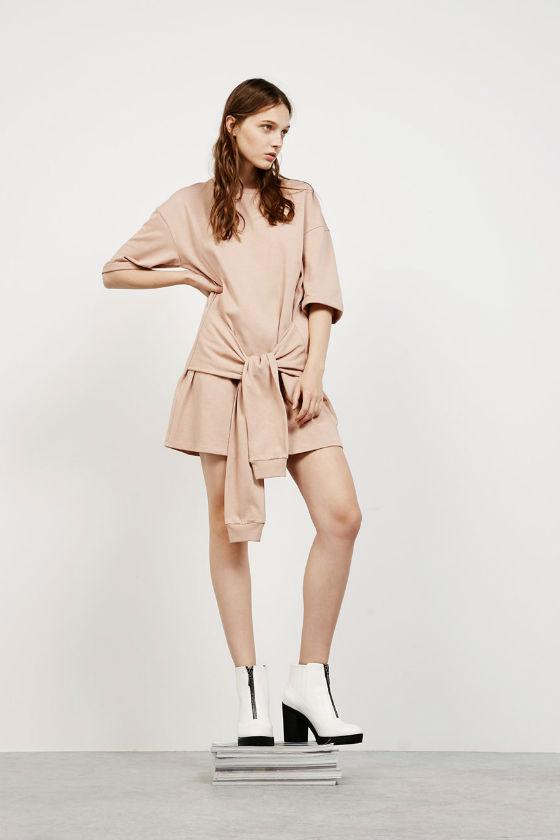 vestido beige bershka