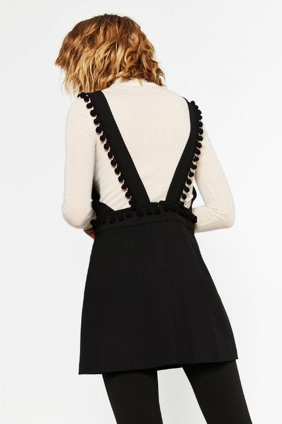 vestido negro pompones zara