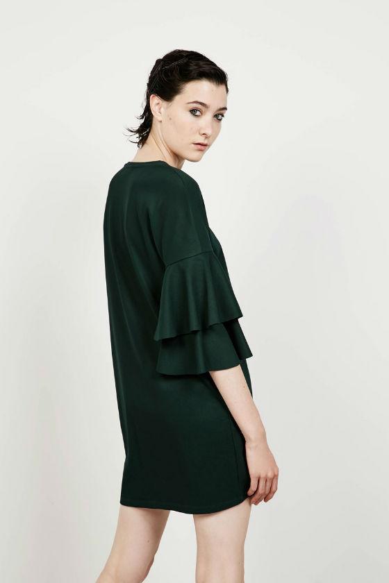 vestido verde ottoman bershka