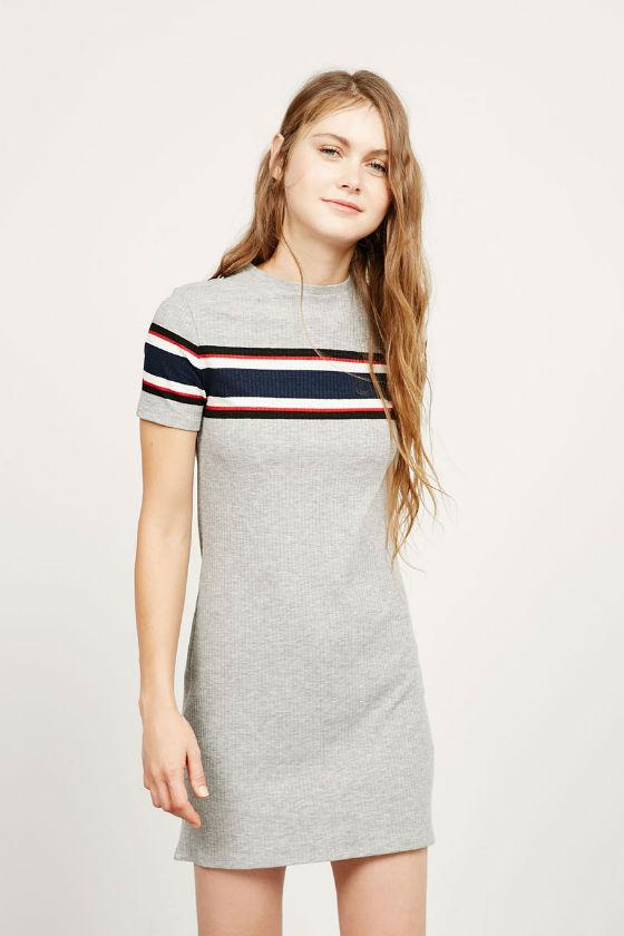 vestido gris franja bershka