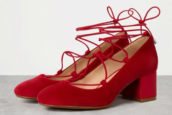tacones lace up rojos bershka