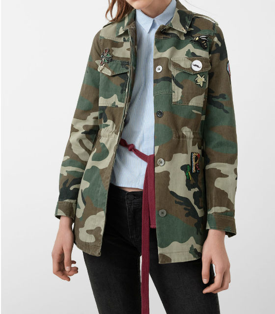chaqueta camuflaje MANGO