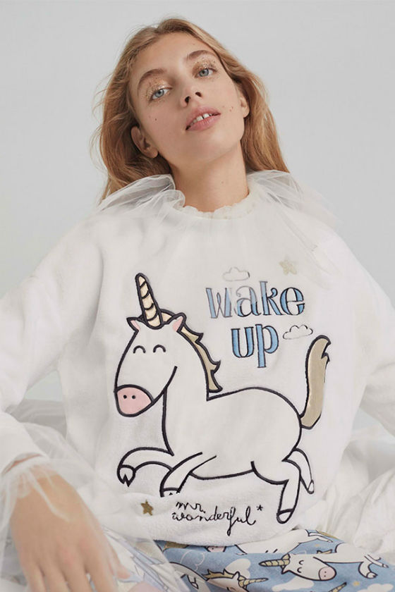 sudadera unicornio mr wonderful for oysho