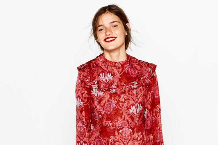 Vestido rojo Zara guipur, Otoño Invierno 2016-17