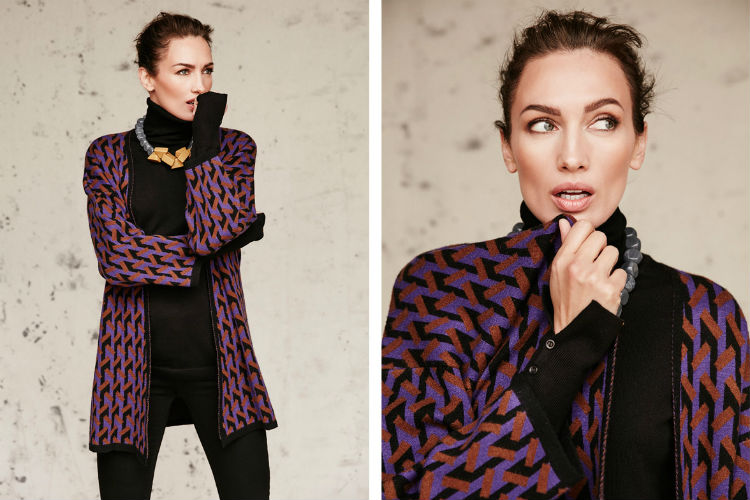 Nieves Álvarez, chaqueta estampada de color burdeos