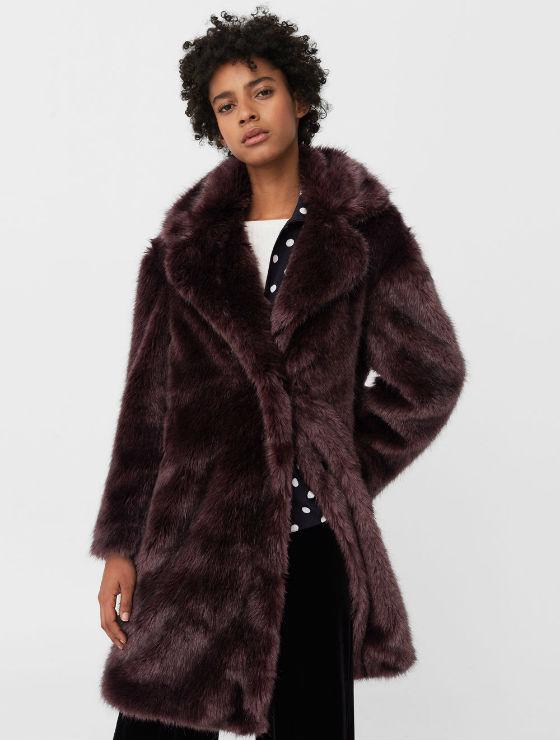abrigo Tejido de pelo, solapas amplias, manga larga,