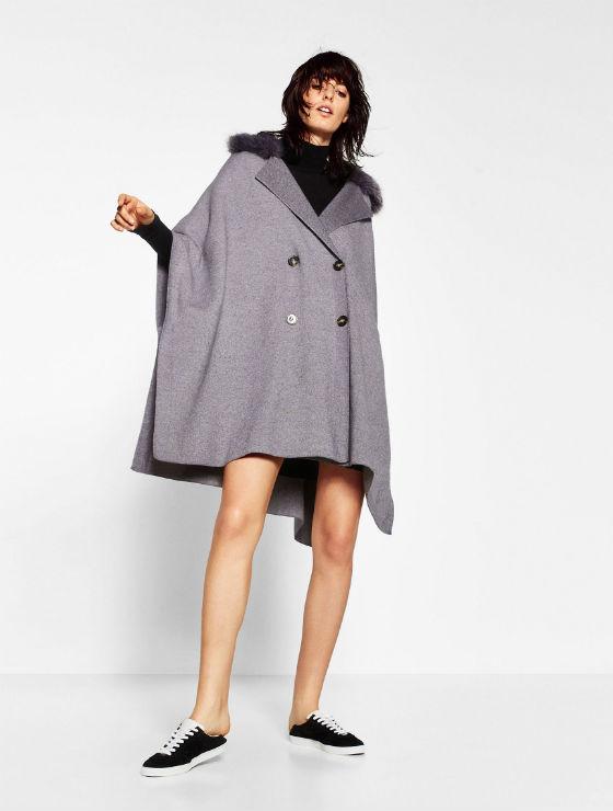 abrigo con capa cruzada cuello con pelo