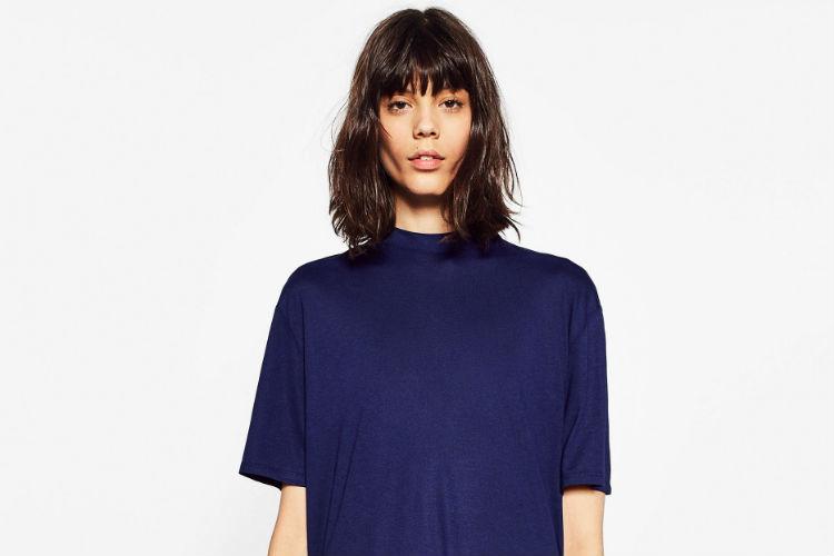 Camiseta Azul Zara