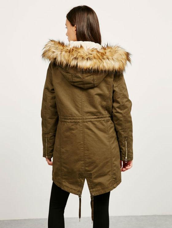 abrigo estilo Parka satén pelo capucha