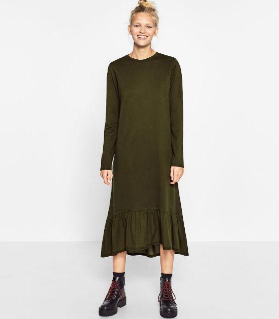 Verde Oliva ZARA Vestido