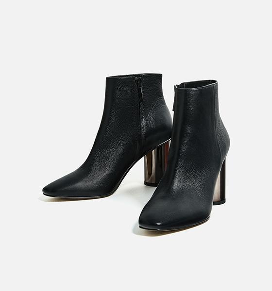botas negras tacon plateado Zara invierno 2016/17