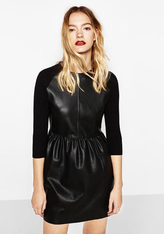 vestido cuero falda