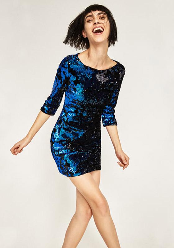 vestido zara lentejuelas azul