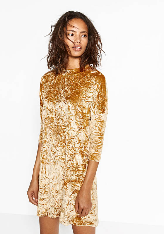 vestido terciopelo mostaza