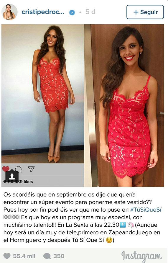 instagram cristina pedroche vestido rojo