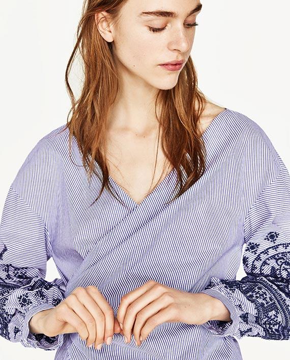 camisa anudada rayas azul