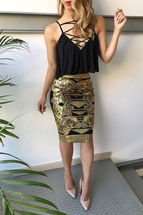 falda tubo dorada