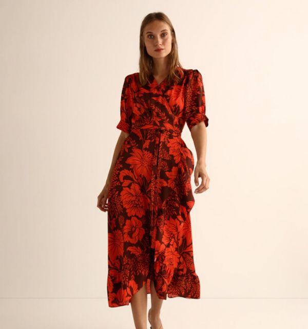 Vestido flores rojo