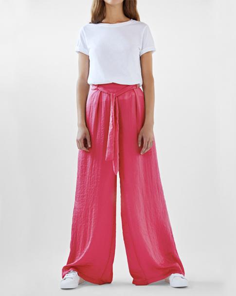 Pantalón ancho con cinturón de color rosa, rebajas Bershka 2017