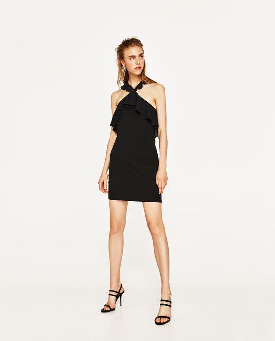 vestido negro zara volantes