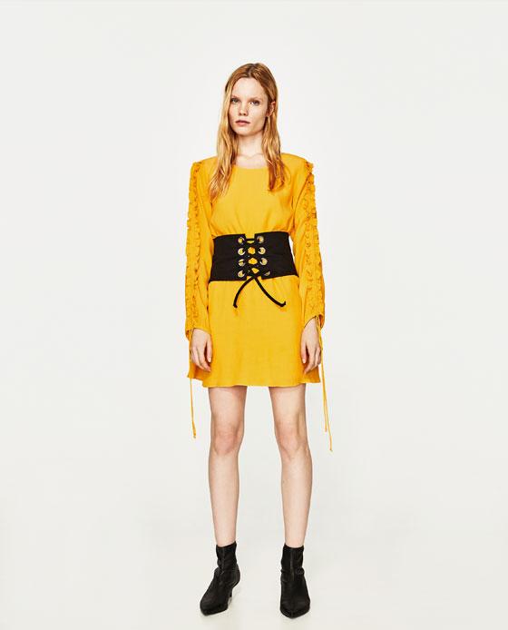 vestido amarillo volantes mangas zara