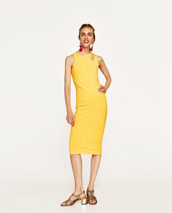 vestido ajustado zara amarillo
