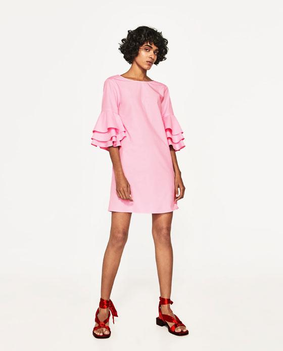 vestido rosa zara volantes
