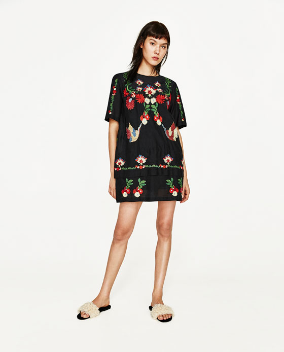 vestido bordado flores zara