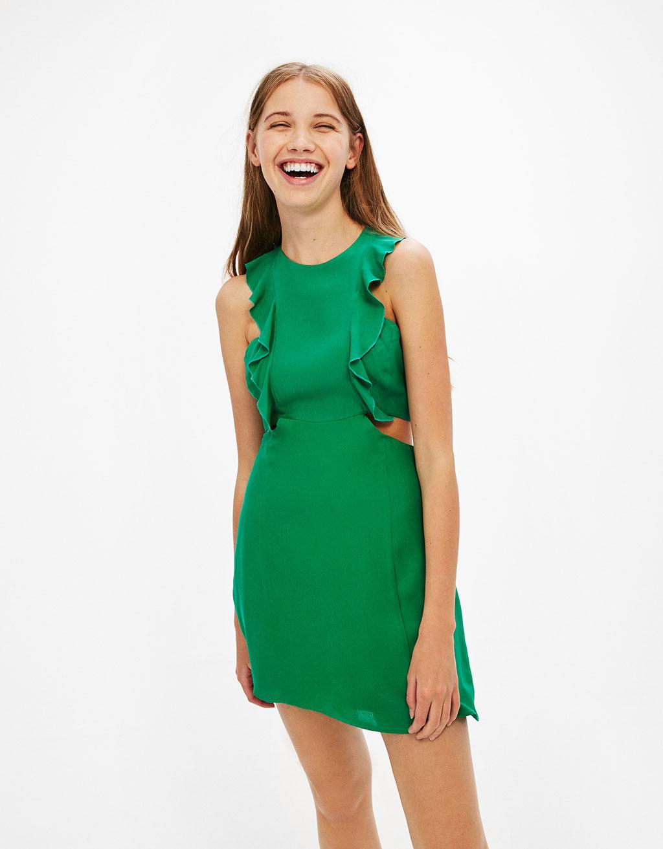 vestido verde volantes bershka rebajas
