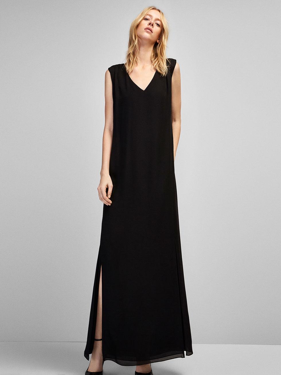 vestido largo escote pico