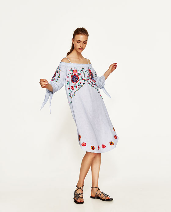vestido lino bordado flores zara