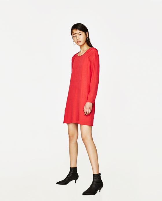 vestido manga larga rojo zara