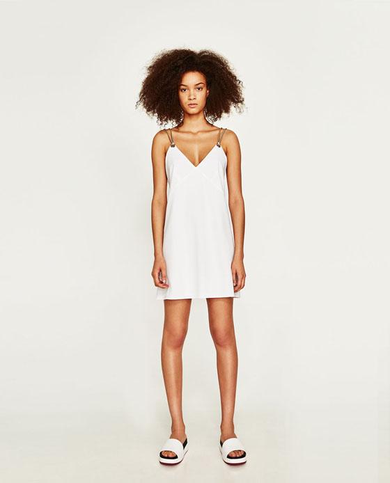 vestido blanco zara corto
