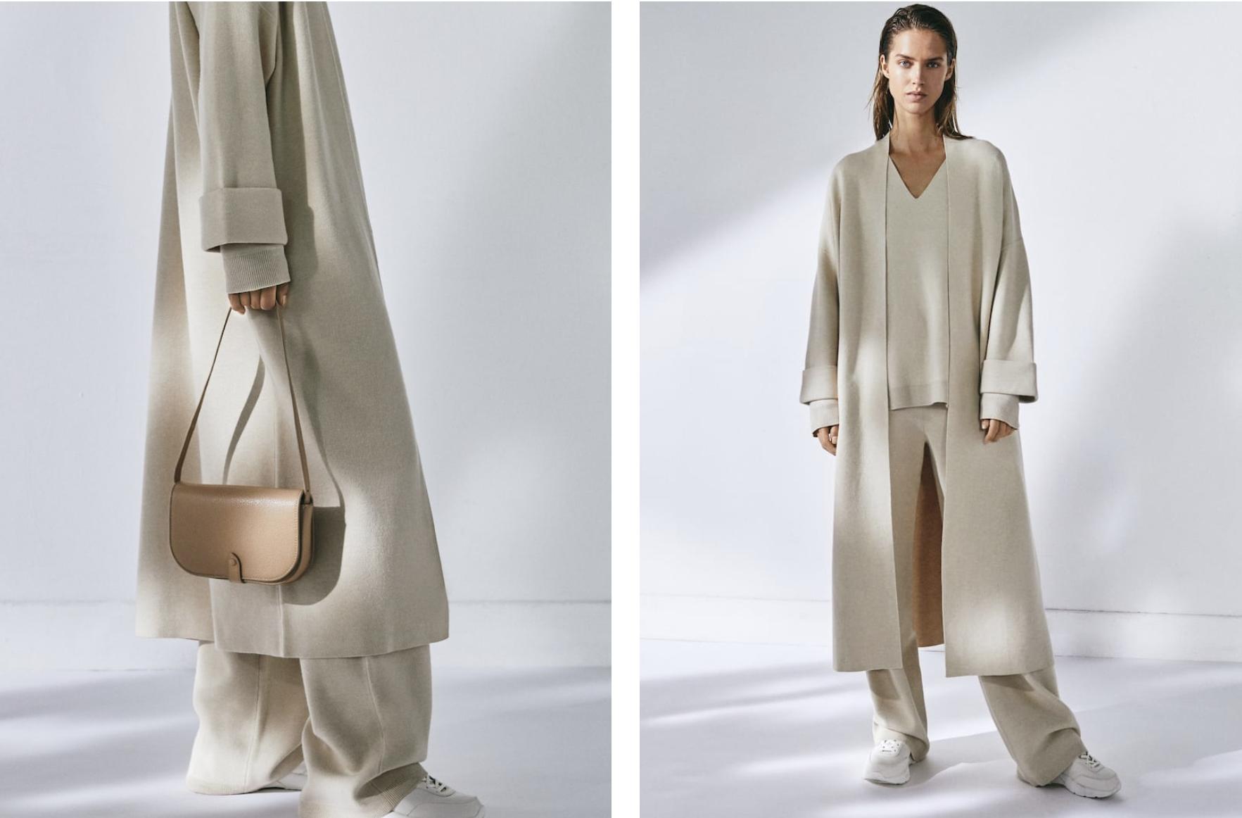 Abrigo largo de punto de Massimo Dutti
