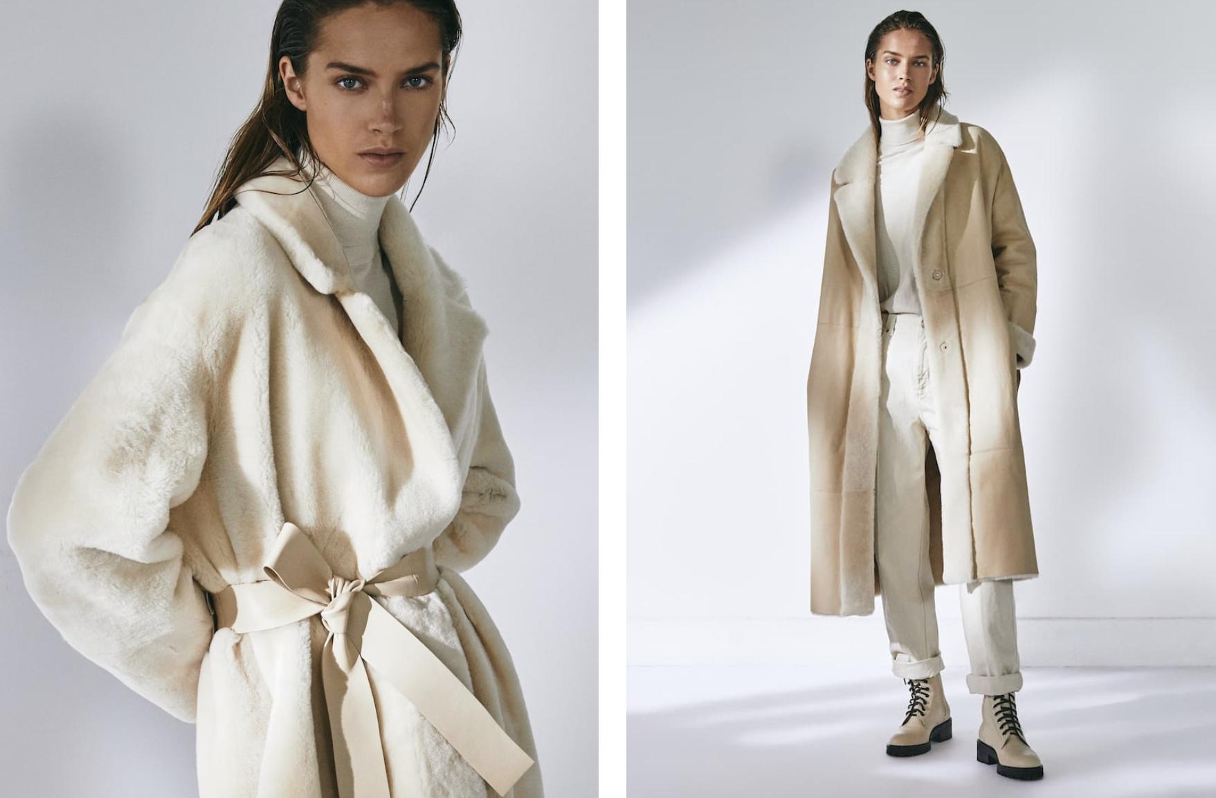 Abrigo mouton largo de Massimo Dutti