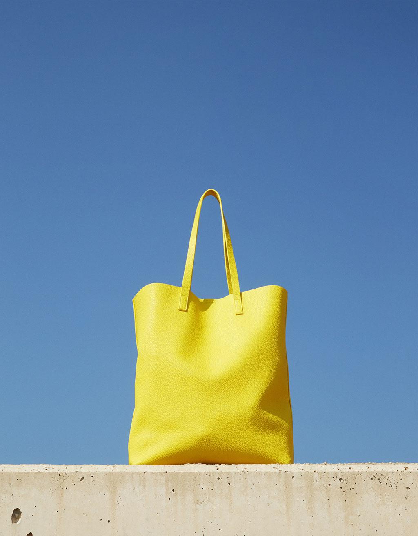 bolso amarillo shopper bershka
