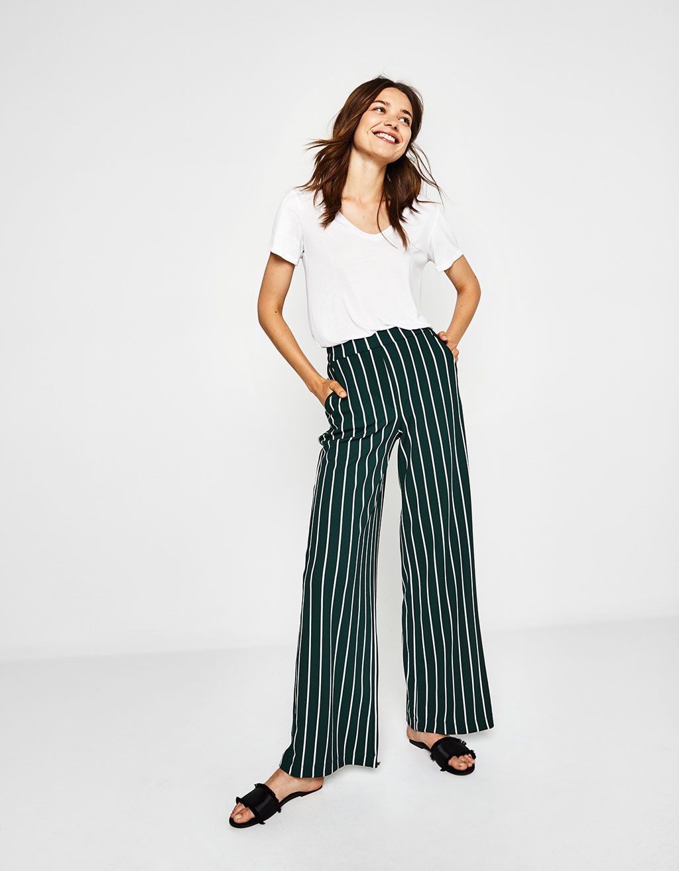pantalones anchos pinzas bershka
