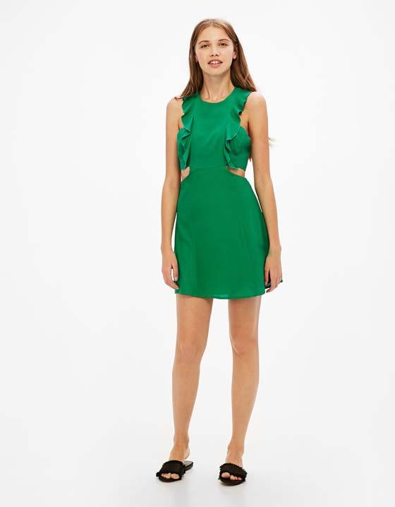vestido verde volantes rebajas bershka