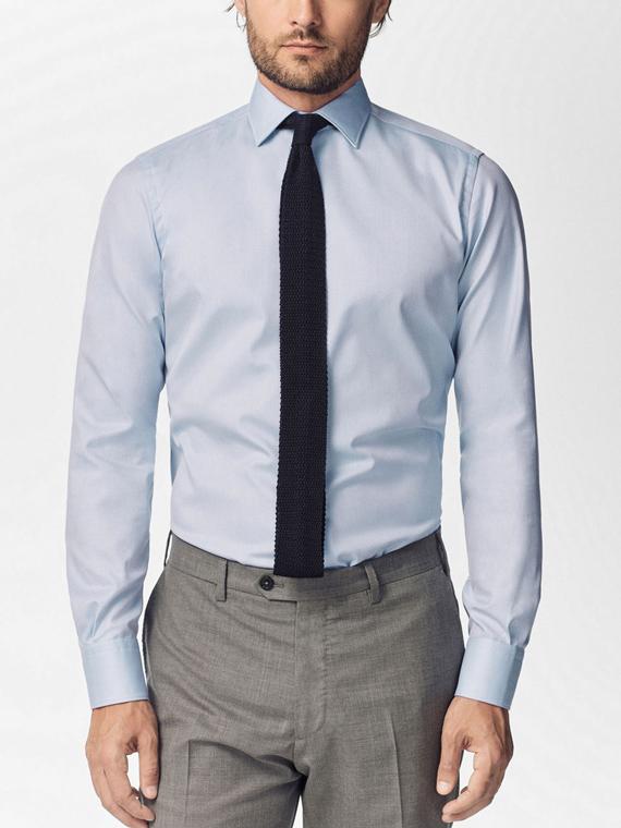 camisa lisa azul de massimo dutti